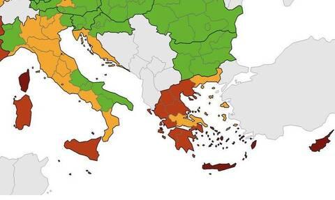 Χάρτης κορονοϊού από το ECDC