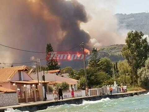 Φωτιά στην Αχαΐα: Απομακρύνθηκαν 110 παιδιά από κατασκήνωση - Σε ετοιμότητα σκάφη του Λιμενικού