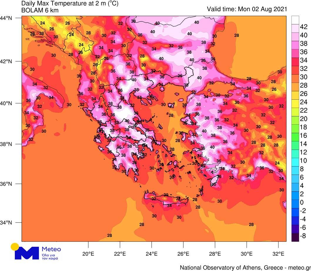 Θερμοκρασίες καύσωνας χάρτης