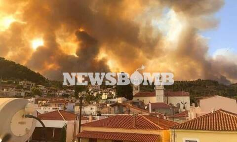 Δεύτερη μεγάλη φωτιά στην Εύβοια: Εκκενώθηκαν δύο χωριά - Δείτε φωτογραφίες