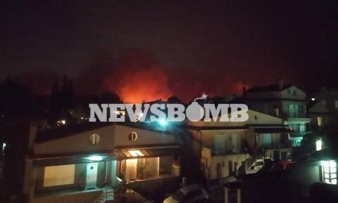 Φωτιά στη Βαρυμπόμπη: Μάχη να μην φτάσει το μέτωπο στο Κρυονέρι