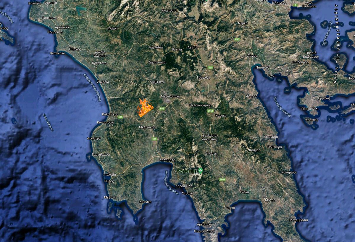 Ο χάρτης με το μέτωπο στη Μέλπεια Μεσσηνίας