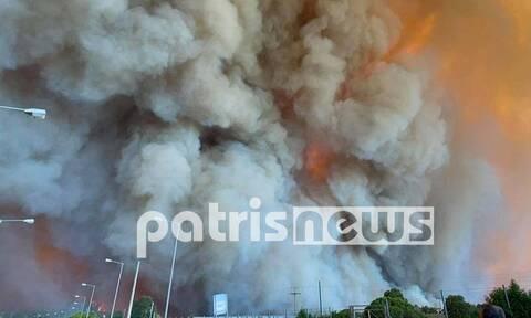 Φωτιά στην Ηλεία: Εκτός ελέγχου η πυρκαγιά – Τεράστιες φλόγες στο Λάλα