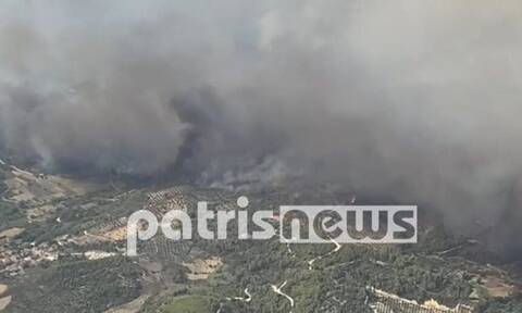 Φωτιά Αρχαία Ολυμπία: Εναέρια πλάνα από την καταστροφική πυρκαγιά