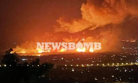 Φωτιά ΤΩΡΑ: Συγκλονιστικές εικόνες - Δείτε την πυρκαγιά να «καταπίνει» τα πάντα