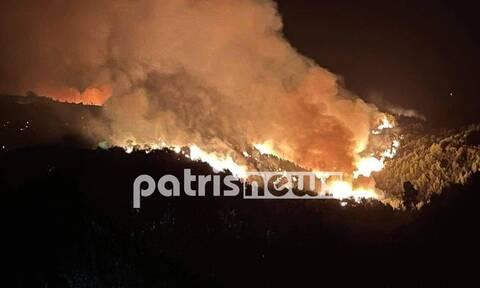 Φωτιά στην Ηλεία: Τρία πύρινα μέτωπα σε εξέλιξη - Δυναμώνουν οι φλόγες στο Κολίρι