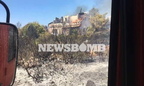 Φωτιά ΤΩΡΑ: Καίγονται σπίτια στο Θεολόγο - Επιχείρηση του Λιμενικού για απομάκρυνση των κατοίκων