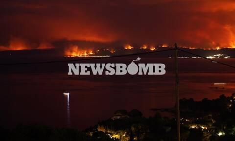 Φωτιά στην Εύβοια: Οι φλόγες κύκλωσαν Μετόχι και Σπαθάρι