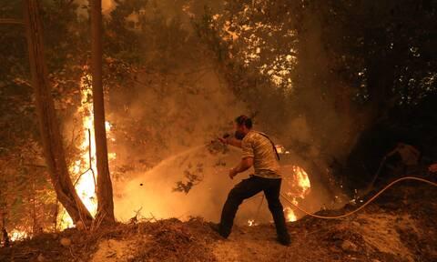Σπάρτη: Σε εξέλιξη η φωτιά στην Ανατολική Μάνη της Λακωνίας