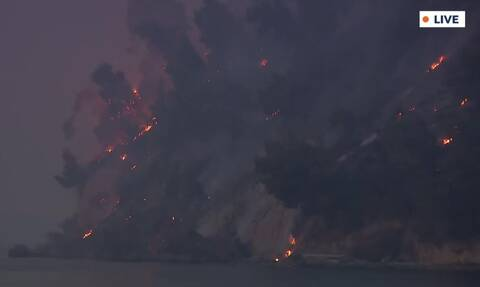 Βόρεια Εύβοια: Η φωτιά έφτασε στη θάλασσα – Τρομακτική εικόνα από το Αγριοβότανο