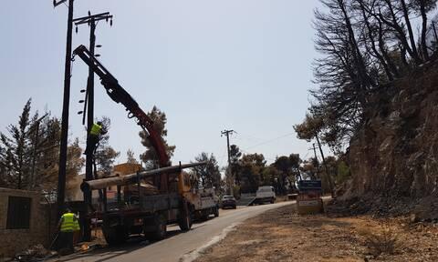 Φωτιές στην Ελλάδα: Συνεχίζονται οι εργασίες αποκατάστασης των ζημιών του δικτύου της ΔΕΗ