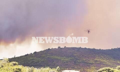 Φωτιά στην Κερατέα: Εκκενώνεται ο οικισμός Άγιου Κωνσταντίνου – Μήνυμα από το 112