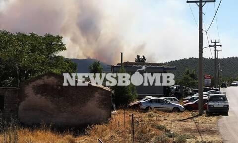 Φωτιά στα Βίλια: Εκκένωση τεσσάρων οικισμών τα ξημερώματα της Τρίτης με μήνυμα από το 112