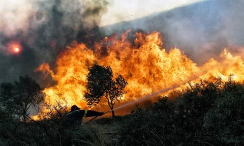 Φωτιά στην Κάρυστο: Μεγάλη πυρκαγιά στον Φηγιά - Εκκενώθηκαν τουλάχιστον δύο οικισμοί