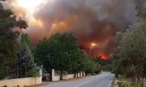 Φωτιά στα Βίλια: Πού έχει διακοπεί η κυκλοφορία