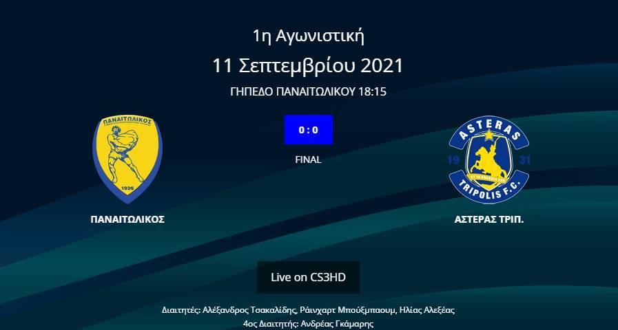 Παναιτωλικός - Αστέρας Τρίπολης 0-0