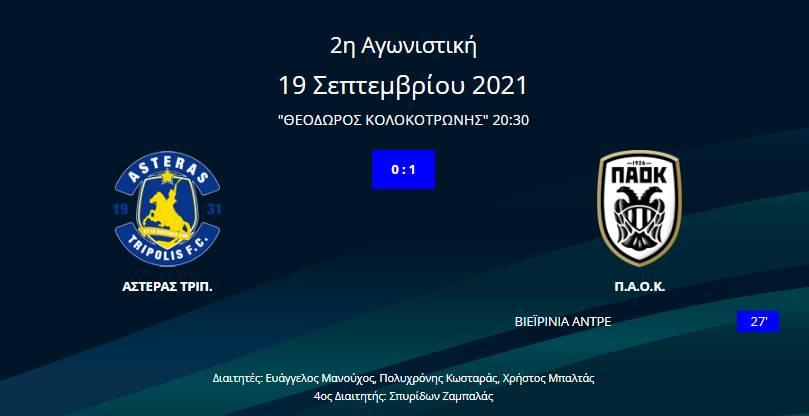 Αστέρας Τρίπολης - ΠΑΟΚ 0-1