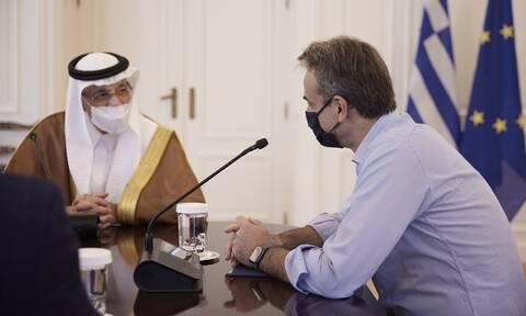 Συνάντηση του Πρωθυπουργού Κυριάκου Μητσοτάκη με τον Υπουργό Επενδύσεων της Σαουδικής Αραβίας
