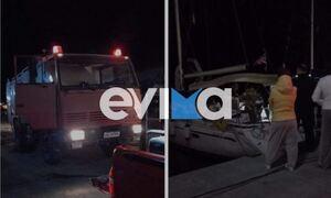 Φωτιά σε σκάφος στο λιμάνι της Καρύστου – Στο νοσοκομείο γυναίκα με εγκαύματα