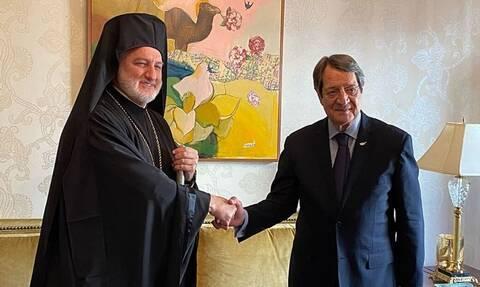Το τετ α τετ του Νίκου Αναστασιάδη με τον Αρχιεπίσκοπο Αμερικής Ελπιδοφόρο (vid)