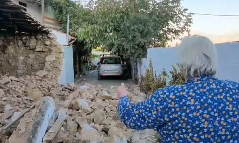 Σεισμός στην Κρήτη: Συγκινεί 84χρονη μέσα από το μισογκρεμισμένο σπίτι της – «Έλα να σου κάνω καφέ»