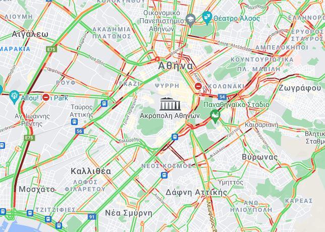 Οι δρόμοι στο κέντρο της Αθήνας το μεσημέρι της Πέμπτης