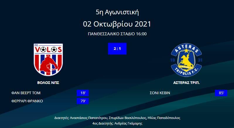 Βόλος - Αστέρας Τρίπολης 2-1