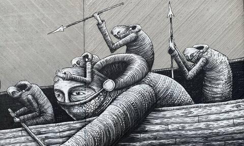 Kόμικς χαρακτήρες του Phlegm εξακολουθούν να «ξεφυτρώνουν» σε τοίχους της Ευρώπης