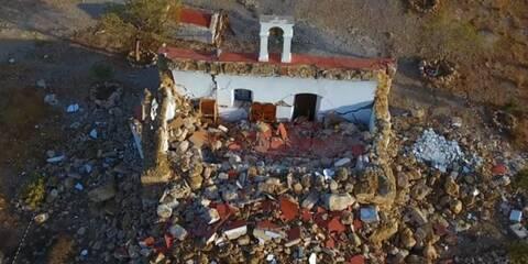 Σεισμός στην Κρήτη: Drone αποτυπώνει την καταστροφή στο εκκλησάκι του Αγίου Νικολάου (vid)