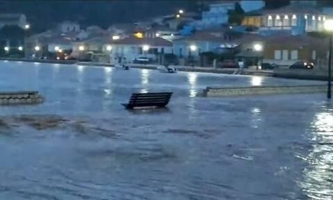 Κακοκαιρία «Μπάλλος» - Ιθάκη: Πλημμύρισε το Βαθύ από την έντονη βροχόπτωση
