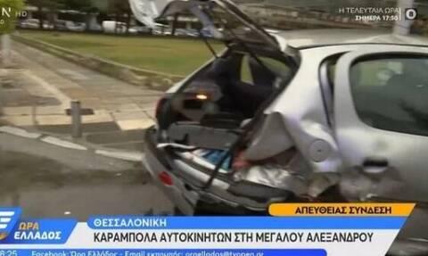 Κακοκαιρία «Μπάλλος»: Καραμπόλα 3 οχημάτων στη Θεσσαλονίκη