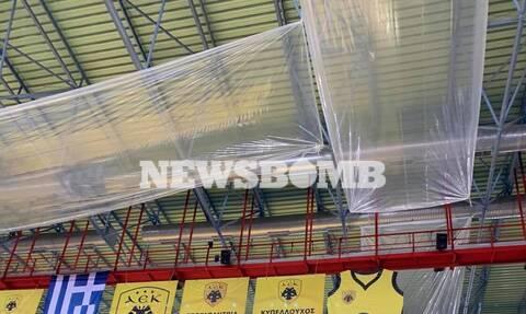 ΑΕΚ: Μουσαμάδες στην οροφή του κλειστού στα Άνω Λιόσια – «Δεν έχουμε λάβει κανένα κονδύλι!» (photos)