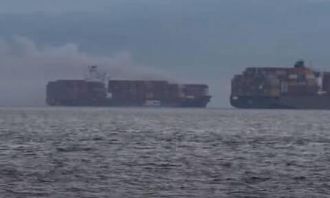 Καναδάς: Φωτιά σε πλοίο μεταφοράς κοντέινερ - Συναγερμός για επικίνδυνα τοξικά αέρια