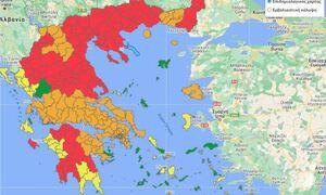 Κορονοϊός: Αυτός είναι ο νέος επιδημιολογικός χάρτης της χώρας – Στο «κόκκινο» πέντε νέες περιοχές