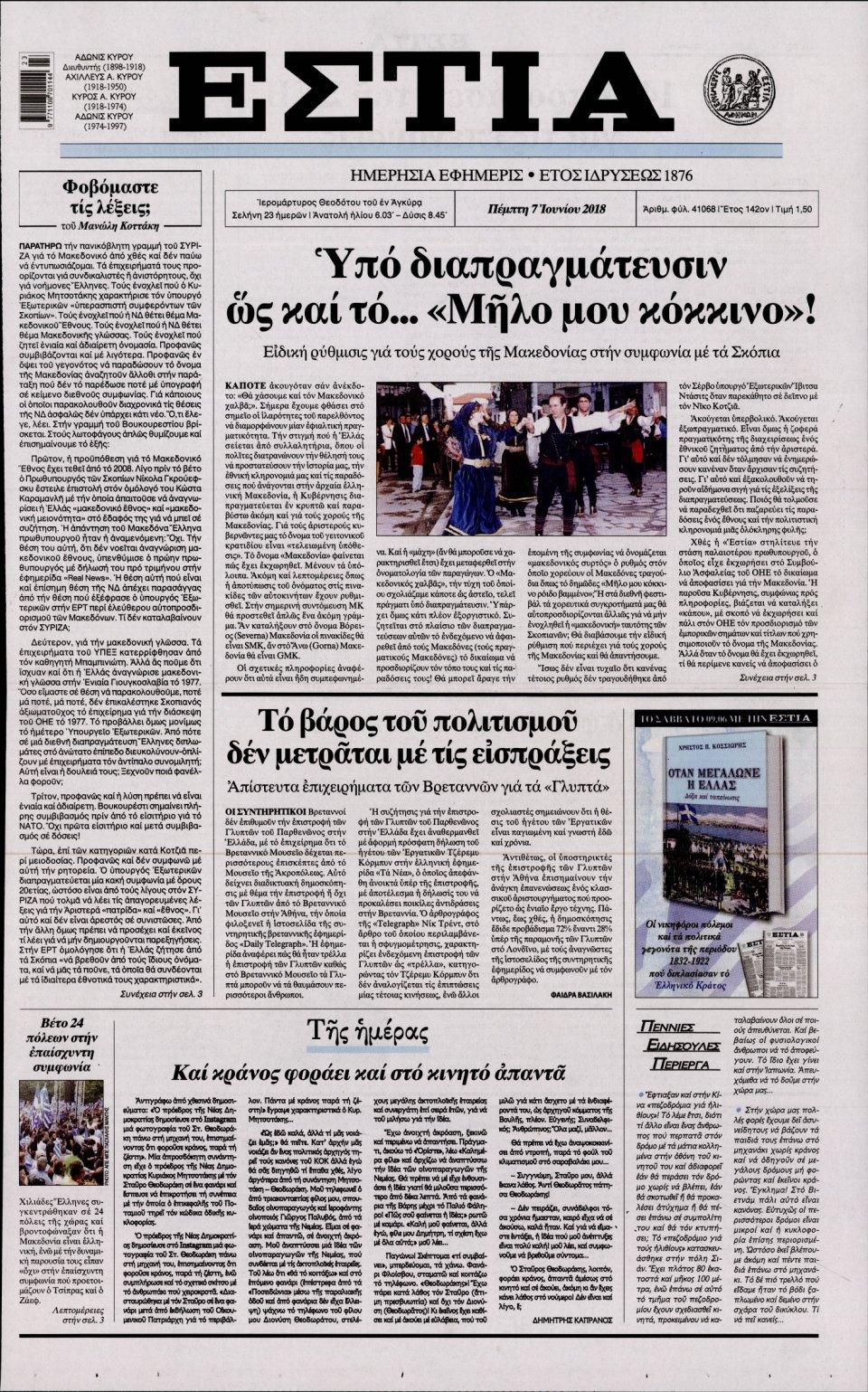 Πρωτοσέλιδο Εφημερίδας - ΕΣΤΙΑ - 2018-06-07