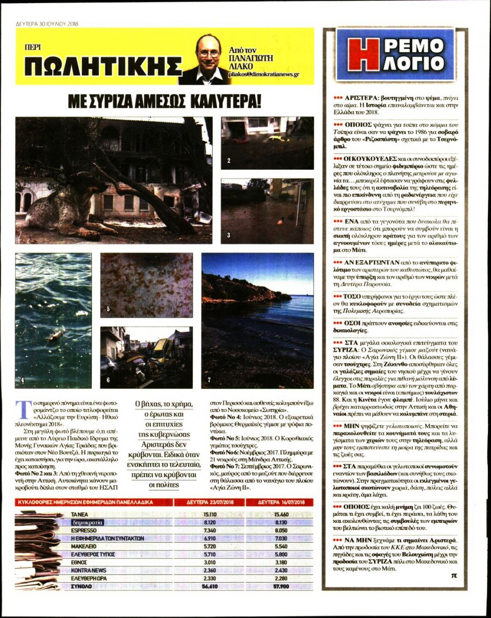 Οπισθόφυλλο Εφημερίδας - ΔΗΜΟΚΡΑΤΙΑ - 2018-07-30