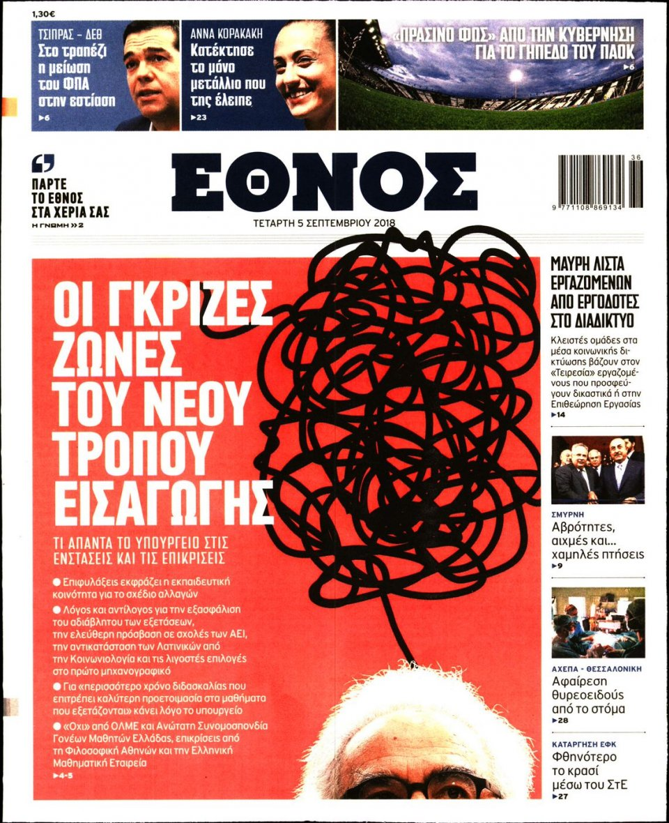 Πρωτοσέλιδο Εφημερίδας - ΕΘΝΟΣ - 2018-09-05