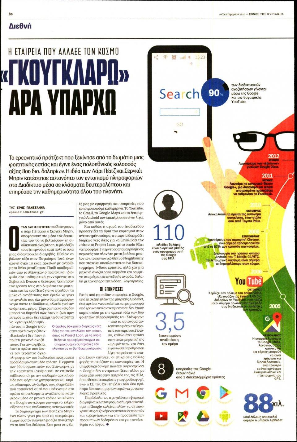 Οπισθόφυλλο Εφημερίδας - ΕΘΝΟΣ  ΚΥΡΙΑΚΗΣ - 2018-09-16