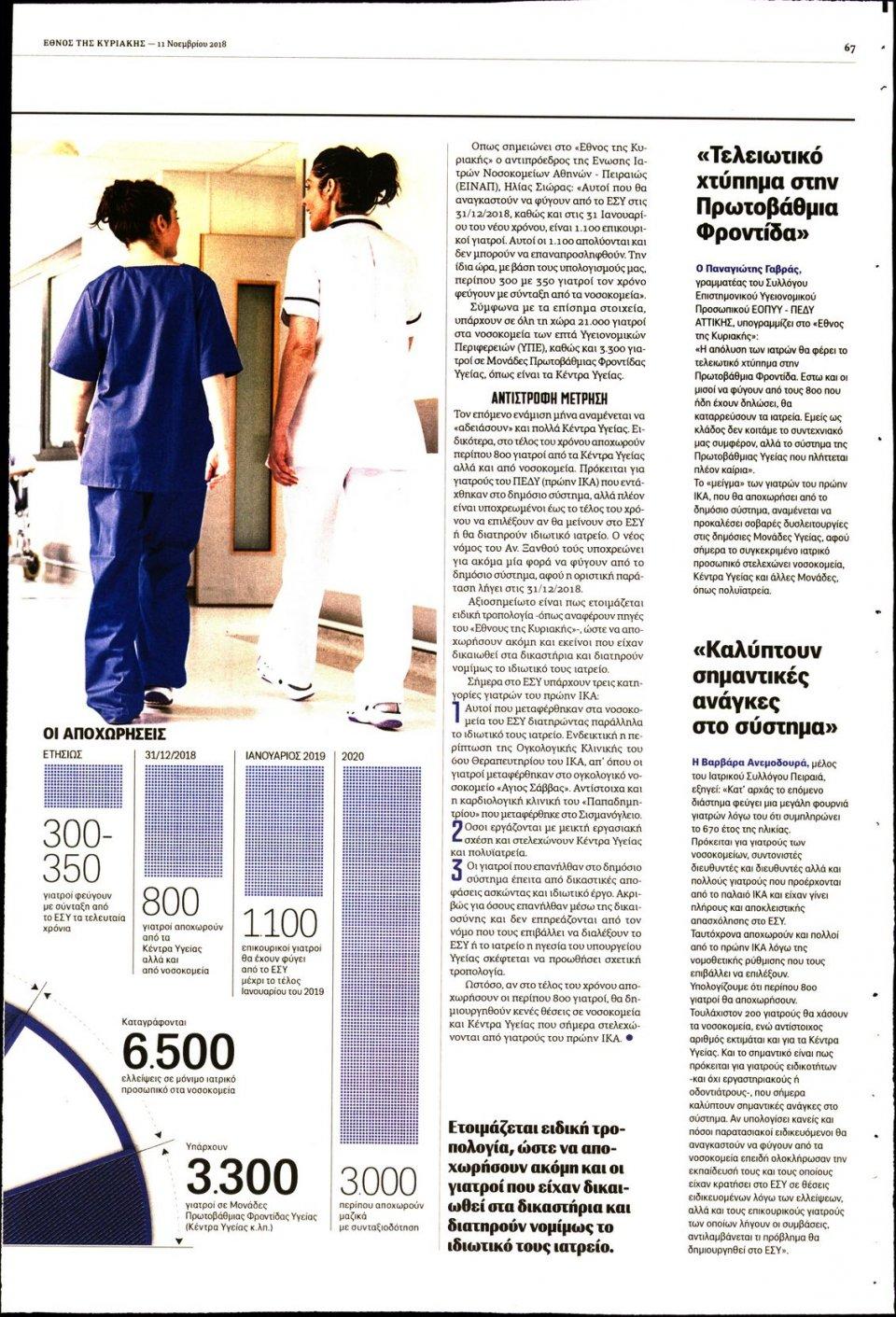 Οπισθόφυλλο Εφημερίδας - ΕΘΝΟΣ  ΚΥΡΙΑΚΗΣ - 2018-11-11