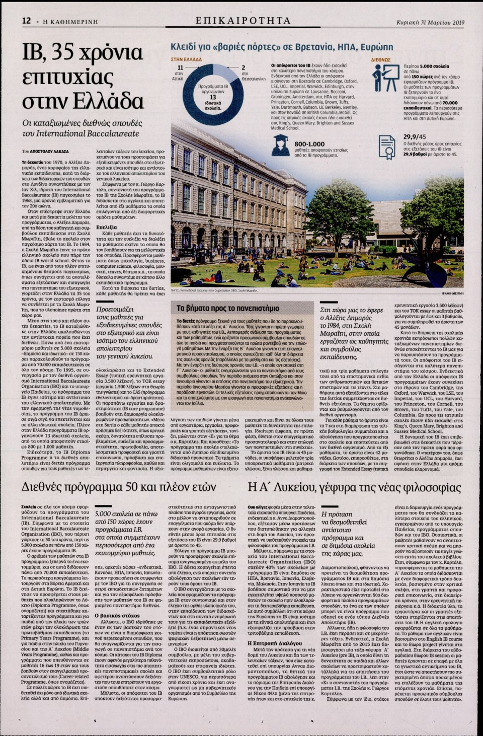 Οπισθόφυλλο Εφημερίδας - Καθημερινή - 2019-03-31