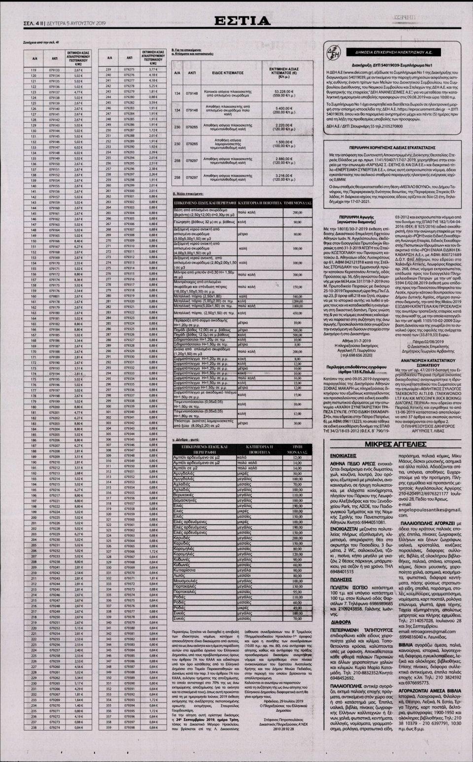 Οπισθόφυλλο Εφημερίδας - Εστία - 2019-08-05