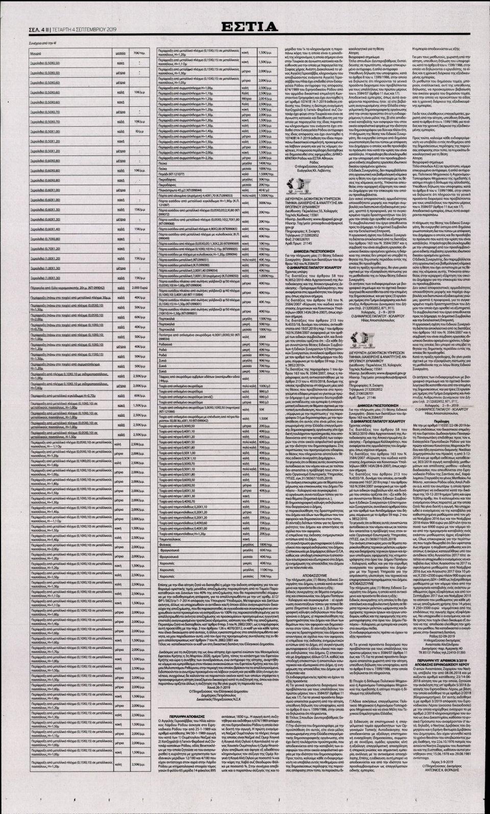 Οπισθόφυλλο Εφημερίδας - Εστία - 2019-09-04