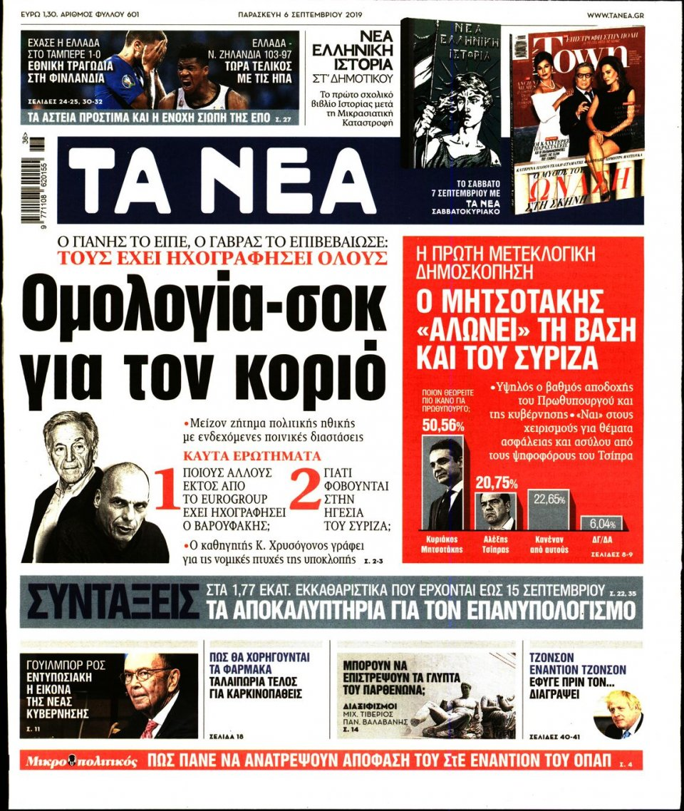 Πρωτοσέλιδο Εφημερίδας - Τα Νέα - 2019-09-06