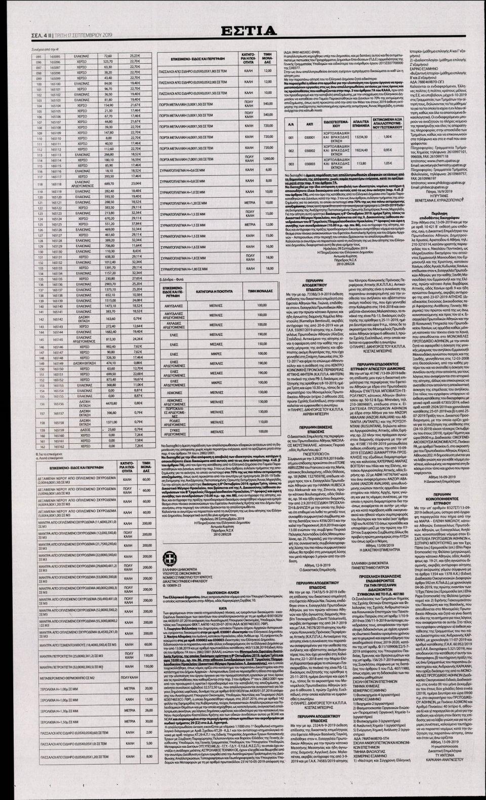 Οπισθόφυλλο Εφημερίδας - Εστία - 2019-09-17