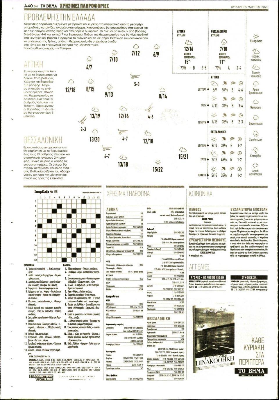 Οπισθόφυλλο Εφημερίδας - Το Βήμα - 2020-03-15