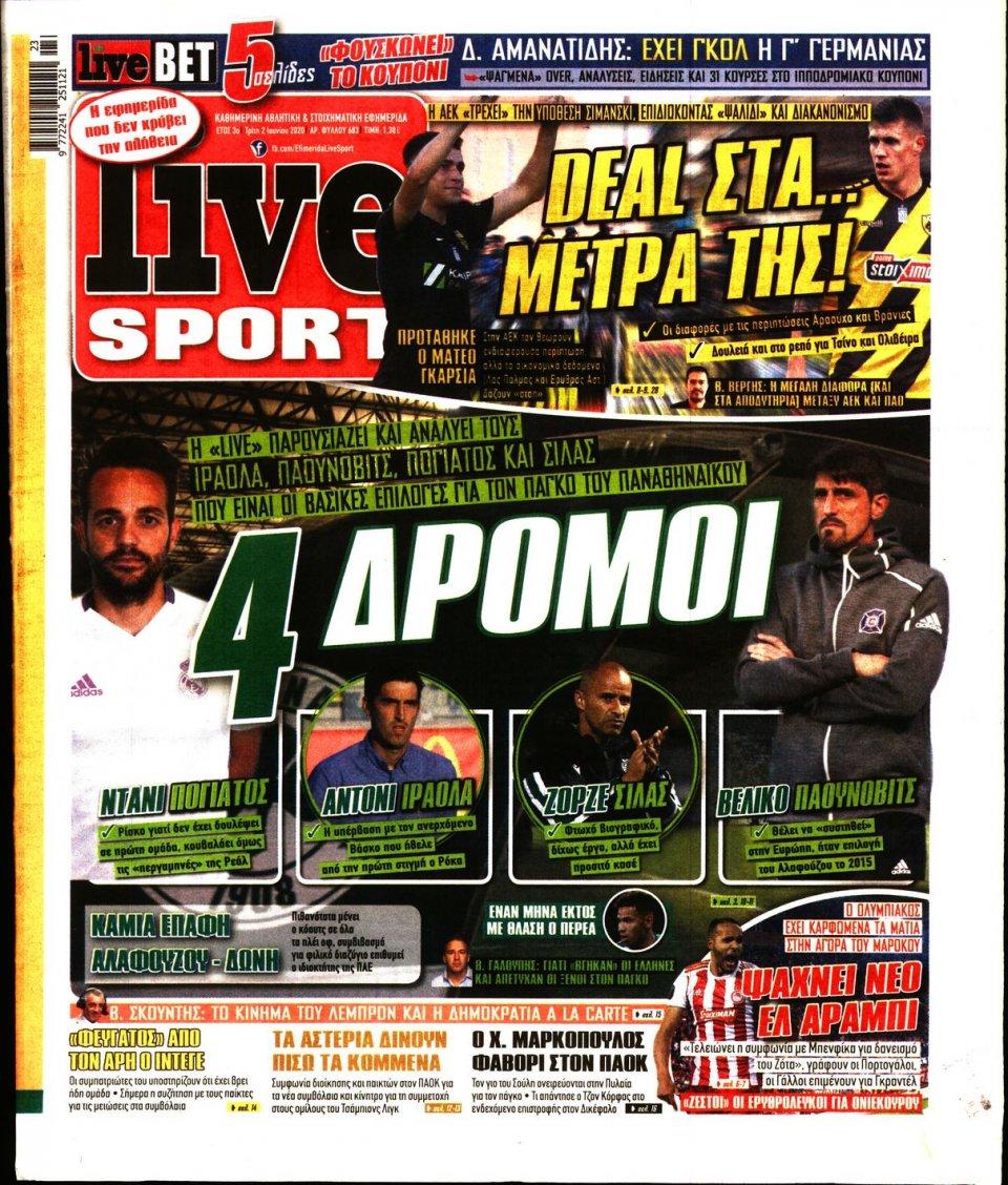 Πρωτοσέλιδο Εφημερίδας - LIVE SPORT - 2020-06-02