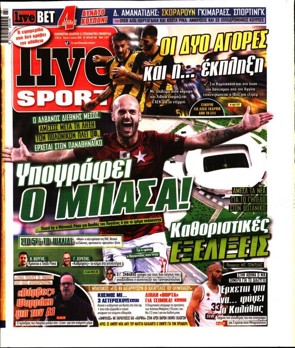 Πρωτοσέλιδο Εφημερίδας - LIVE SPORT - 2020-06-04