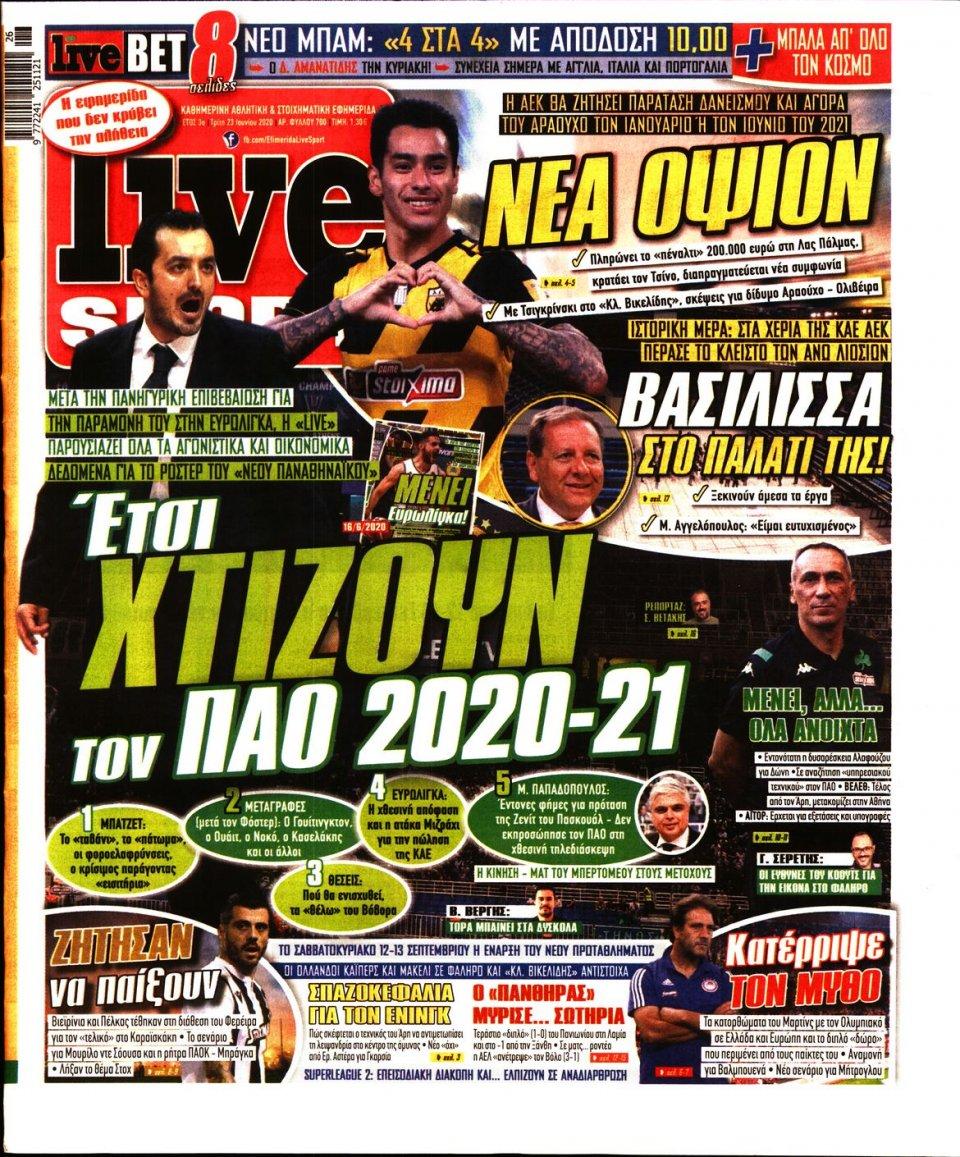 Πρωτοσέλιδο Εφημερίδας - LIVE SPORT - 2020-06-23