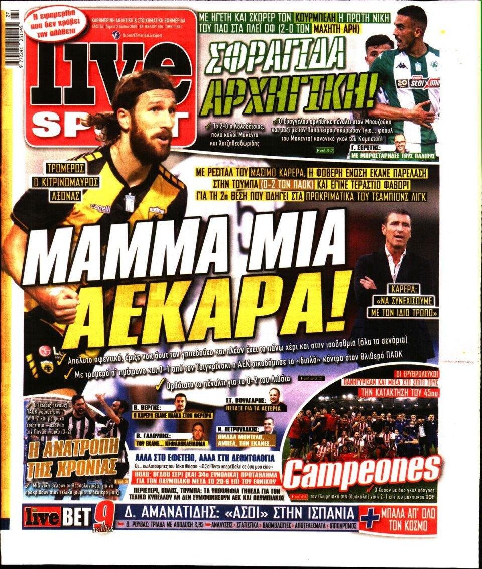 Πρωτοσέλιδο Εφημερίδας - LIVE SPORT - 2020-07-02