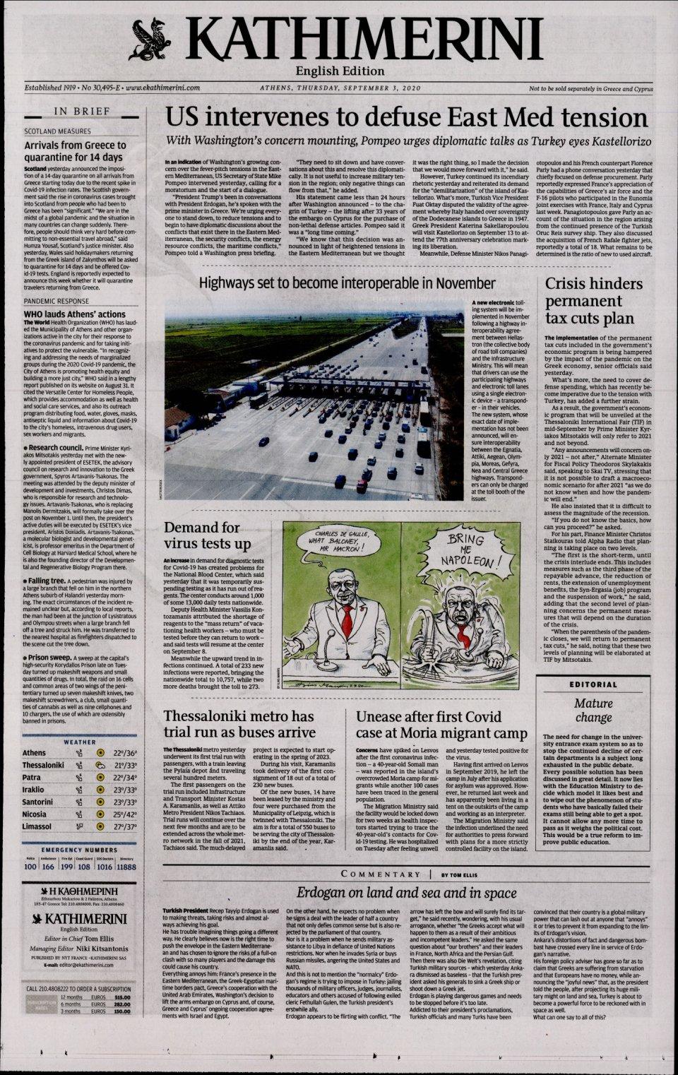 Πρωτοσέλιδο Εφημερίδας - INTERNATIONAL NEW YORK TIMES_KATHIMERINI - 2020-09-03